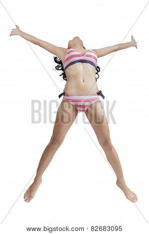 Female Model With Bikini In Studio