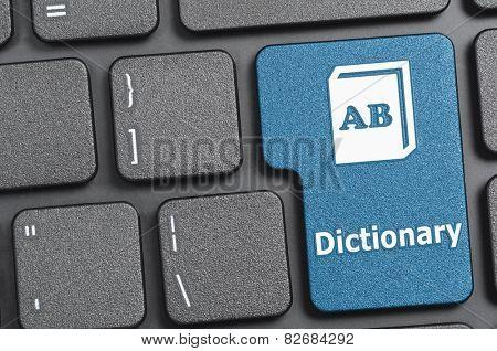 Blue dictionary key on keyboard