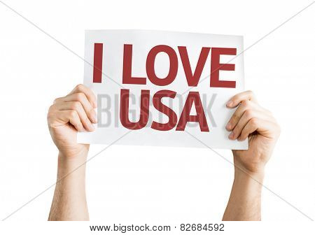 I Love USA card isolated on white background