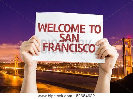 Welcome to San Francisco card with Golden Gate Bridge background