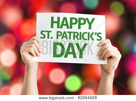 Happy St. Patricks Day card with colorful background with defocused lights