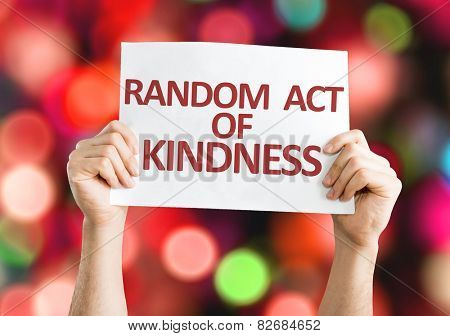 Random Act of Kindness card with colorful background with defocused lights