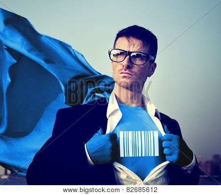 Strong Superhero Businessman Barcode Concepts