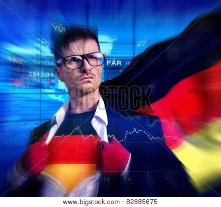 Superhero Businessman German Stock Market Concept