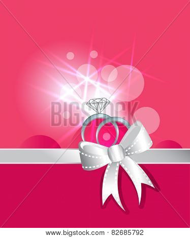 Diamond rings and wedding silver band ribbon and bow