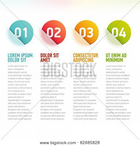 Vector infographics with numbers and beautiful translucency effect.