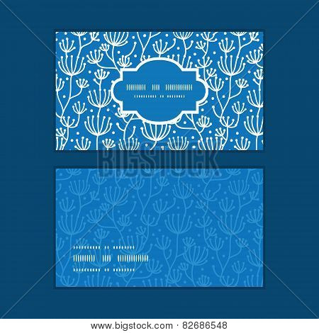 Vector blue white lineart plants horizontal frame pattern business cards set