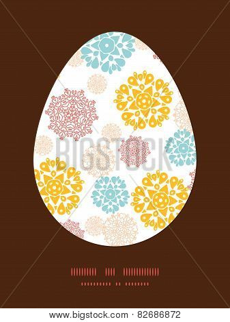 Vector abstract decorative circles stars Easter egg sillhouette frame card template