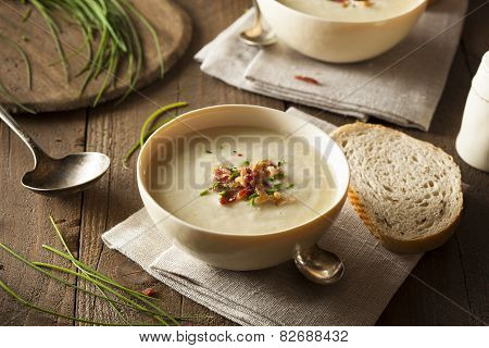 Homemade Creamy Potato And Leek Soup