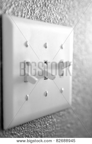 Light switch on wall inside a home