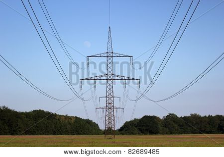 High Voltage Line Centered On Rural Landscape