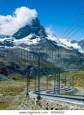 Gornergrat Railway And Matterhorn In Switzerland