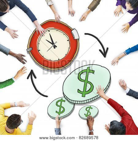 Aerial View People Time Management Money Making Concepts