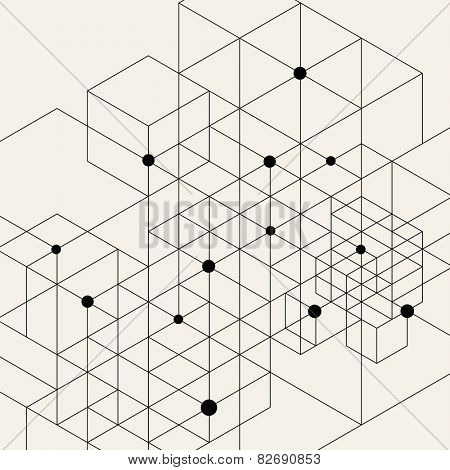Vector Modern Pattern. Black Techno Texture. Geometric Pattern Background. Rhombus, Triangles and Ci