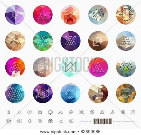 Abstract Geometric Patterns Set with Hipster Style Icons for Logo Design. Line Retro Signs for Logotypes and Business Cards.