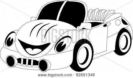 Black and white illustration of a cartoon car