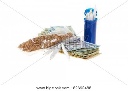 medical marijuana, rolled joints, prescription bottle, and American money isolated on white with room for your text. medical marijuana business