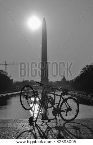 Washington DC - Washington Monument and tour bikes silhouettes