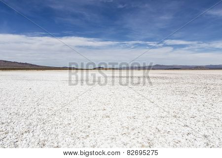 Salt flat dry lake near Zzyzx in California's vast Mojave desert.