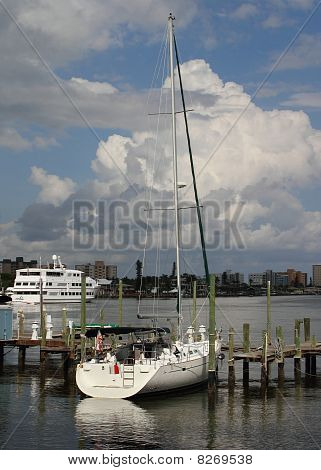 Sailboat Docked At Pier