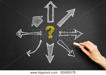 Hand drawing questionmark and arrows on blackboard