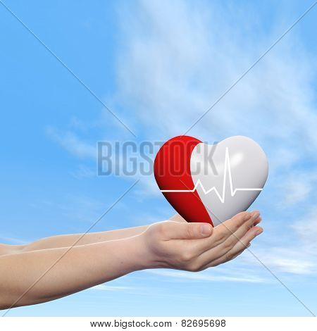 Concept conceptual 3D red human heart sign or symbol held in human man or woman hands, blue sky background