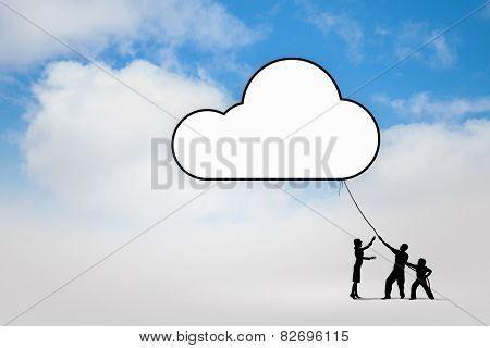 Silhouettes of people pulling Earth plane with rope