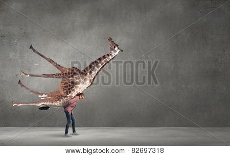 Funny young girl making effort to carry giraffe