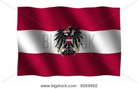 Austria Flag with crest in 3D