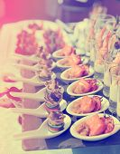 foto of banquet  - Spoons with seafood snacks  - JPG