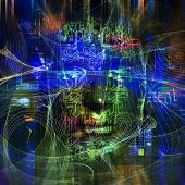 picture of cyborg  - Cyborg artwork with computer electronics - JPG