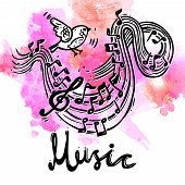image of treble clef  - Music sketch background with bird and musical notes and treble clef vector illustration - JPG