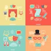 stock photo of applause  - Theatre design concept set with performance actors scenario audience flat icons isolated vector illustration - JPG