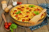 picture of cherry pie  - Tart with cheese and cherry tomatoes - JPG