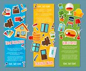 pic of comfort  - Interior design vertical banners paper set with home comfort finishing works isolated vector illustration - JPG