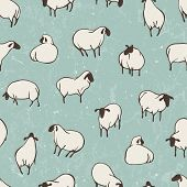 stock photo of sheep  - Herd of sheep - JPG