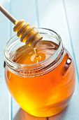 picture of pot gold  - honey dipper and honey in jar - JPG