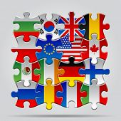 picture of flags world  - Set of puzzle with World flags - JPG