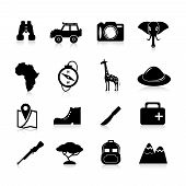 stock photo of safari hat  - Jungle safari and travel icons black set with pioneer hat binoculars giraffe isolated vector illustration - JPG