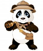 picture of safari hat  - Panda  safari explorer with binoculars - JPG