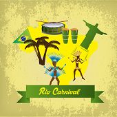 stock photo of brazilian carnival  - a colored background with a lot of traditional elements for carnivals - JPG