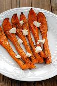 foto of butternut  - Roasted butternut squash slices with cheese vertical - JPG