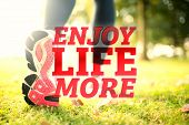 stock photo of sole  - Close up picture of pink sole from running shoe against enjoy life more - JPG