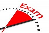 pic of exams  - clock with red seconds hand area exam 3d illustration - JPG