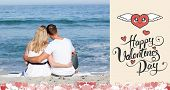 pic of couple sitting beach  - Affectionate couple sitting on the sand at the beach against happy valentines day - JPG