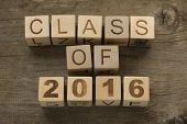 picture of senior class  - Text Class of 2016 on a wooden background - JPG