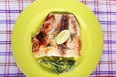 image of pangasius  - Dish of Pangasius fillet with rosemary and lime on plate and fabric background - JPG