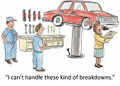 picture of breakdown  - Cartoon of woman reading invoice for car repair and crying - JPG