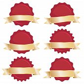 stock photo of wax seal  - red seals with gold ribbon banners isolated on white - JPG