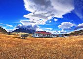 stock photo of wagon wheel  - The small village in southern Patagonia - JPG